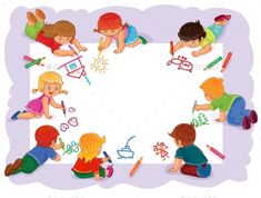 Buy Happy Children Together Draw on a Large Sheet by vectorpocket on GraphicRiver. Vector illustration of happy children draw on a large sheet of paper, top view Happy Children's Day, Happy Kids, School Border, Classroom Charts, School Murals, Kids Background, Doodle Art Journals, Simple Cartoon, Cover Pages