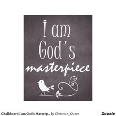 Chalkboard I am God's Masterpiece Quote Canvas Print