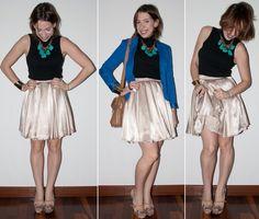 Look do Dia: como usar saia rodada de cintura alta, blazer azul-klein, peep-toe Santa Lolla e maxi colar no blog de moda.