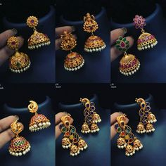 All popular jumkis in one pic.To place order WhatsApp . Gold Jhumka Earrings, Indian Jewelry Earrings, Jewelry Design Earrings, Gold Earrings Designs, Gold Jewellery Design, Antique Earrings, India Jewelry, Jewelry Stand, Temple Jewellery
