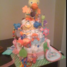 Diaper cake used for game at baby shower. Memory game.