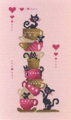 "This cross stitch pattern titled ""Tea Break"" features cats and mice all around tea cups and is from designer Mercerie de la Gargouille. The ..."