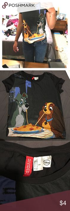 Graphic Tee Black graphic Lady & The Tramp t-shirt. Short sleeve, full length, loose fit material. Never worn, good condition. Divided Tops Tees - Short Sleeve