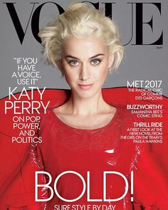 Wow: Katy Perry sported platinum blonde locks with a bold red ensemble for the May cover of Vogue magazine