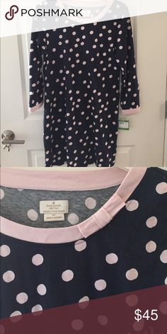 NWT Kate Spade cotton nightgown, M/L NWT kate Spade navy with pink polka dots nightgown. Size is listed as Large but I believe this runs a little small and could definitely fit a Medium. For reference I'm a XS/S/2 in Kate Spade and have this night gown in a Medium instead of Small because I like to sleep in looser fitting clothes. Super cozy and cute! kate spade Intimates & Sleepwear Pajamas