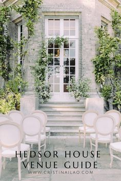 wedding ceremony garden setup with antique French chairs in white and neutral shades