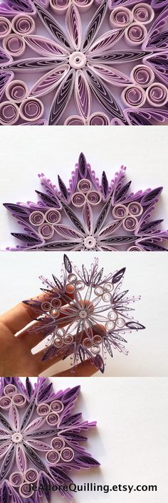Snowflake Purple Christmas Tree Decoration Winter Ornaments Gifts Toppers Fillers Office Corporate Paper Quilling Quilled Art
