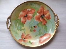 Antique Hand Painted Limoges Poppy Flowers Platter Artist Signed, L357