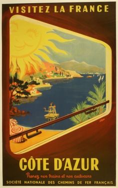 Cote d'Azur, Visitez la France SNCF, 1952 - original vintage poster listed on AntikBar.co.uk