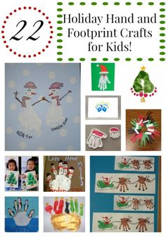 We have searched the web far and wide for some great holiday inspired handprint and footprint ideas for kids to make. All of these ideas can be created with simple supplies and a big imagination. Enjoy and Happy Holidays!