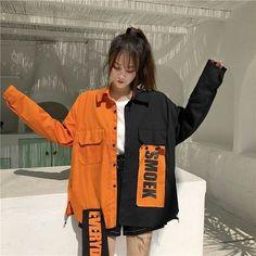 Harajuku Jeansjacke in Kontrastfarbe - Mode Outfits Korean Street Fashion, Asian Fashion, Look Fashion, New Fashion, Trendy Fashion, Fashion Design, Japan Fashion Casual, Fashion Styles, Fashion Ideas
