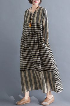going out outfits Paneled Striped Plaid Print Vintage Maxi Dress kukaus Simple Dresses, Casual Dresses, Maxi Dresses, 1950s Dresses, Vintage Dresses, Dress Outfits, Hijab Fashion, Fashion Dresses, Going Out Outfits