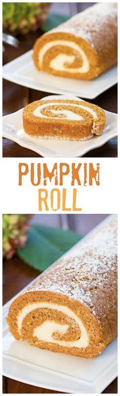 Pumpkin Roll – That Skinny Chick Can Bake - Vegan Pumpkin Easy Cake Recipes, Pumpkin Recipes, Fall Recipes, Sweet Recipes, Holiday Recipes, Dessert Recipes, Pie Recipes, Yummy Treats, Delicious Desserts