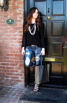 Black sweater, leopard bag, pearls