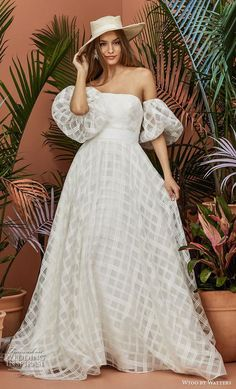 weddingdress romantic wtoo by watters fall 2018 bridal half balloon sleeves off the shoulder straight aross neckline full embsllishment checkered romantic a line wedding dress pockets backless chapel train mv -- Wtoo by Watters Fall 2018 Wedding Dresses Plaid Wedding Dress, Western Wedding Dresses, Wedding Dress With Pockets, Amazing Wedding Dress, Classic Wedding Dress, Bohemian Wedding Dresses, New Wedding Dresses, Designer Wedding Dresses, Bridal Dresses