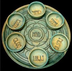 Seder Plate, Patina, with bowls