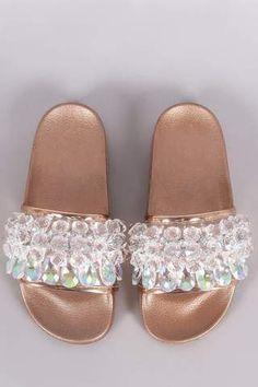 1fb73dcb2653 Crystal Embellished Open Toe Slide Sandal Cute Slides