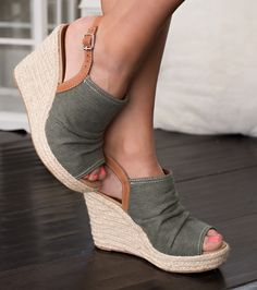 With Gorgeous twine detailing on  denim like fabric these wedges are sure to be your new go to shoe! $45