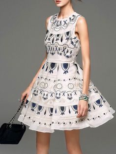 Shop Mini dresses - Apricot Cotton Embroidery Sleeveless Mini Dress online. Discover unique designers fashion at StyleWe.com.