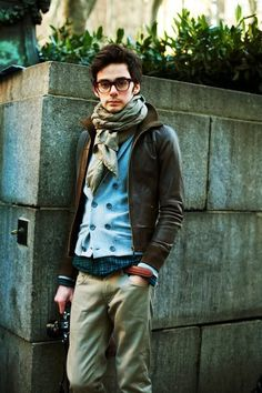 Wonderful choice of clothing, blue vest, scarf, green pants, jacket, ooh! and glasses!