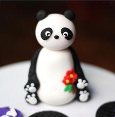 Fondant panda cake topper. Panda fondant topper. by LesPopSweets