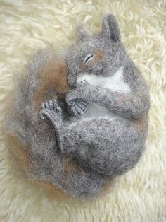 Needle Felted Sleeping Squirrel I want this with my little mouse!