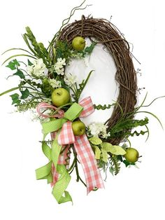 Easter Wreaths, Fall Wreaths, Door Wreaths, Diy Wreath, Grapevine Wreath, Wreath Ideas, Apple Garland, Old World Christmas Ornaments, Wreath Supplies