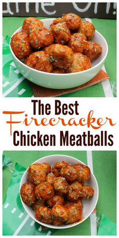The Best Firecracker Chicken Meatballs Recipe - They're hot, spicy and perfect for game day or tailgating! Spicy Recipes, Appetizer Recipes, Dinner Recipes, Cooking Recipes, Healthy Recipes, Party Appetizers, Turkey Recipes, Dinner Ideas, Spicy Appetizers