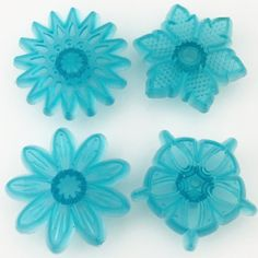 Blue Crystal Mandala Stamps Set of 4 for Polymer Clay and More