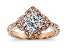 Art Deco Cushion Diamond Rose Gold Engegement Ring