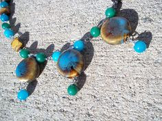 Green, Blue & Brown Ceramic Necklace.