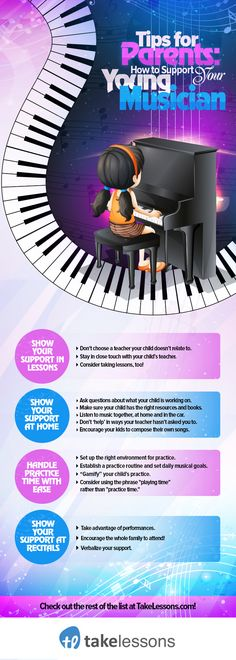 25 Tips for Supporting Your Young Musician [Infographic] http://takelessons.com/blog/helping-kids-learn-piano-z06?utm_source=social&utm_medium=blog&utm_campaign=pinterest