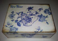 pudełko na herbatkę, farby akrylowe, decoupage serwetką/ tea box, acrylic paint, napkin decoupage