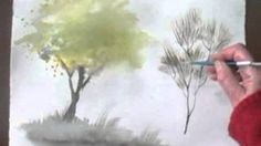 How to paint watercolor trees - YouTube