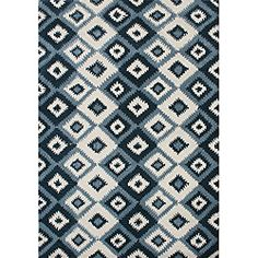 Overstock:  Metro IKAT pattern Hand Made Orion Blue New Zealand Wool Rug (8' x 10')