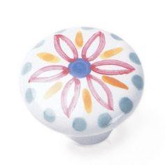Laurey Cabinet Knobs, 1 1/2″ Porcelain Knob - Hand Painted