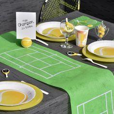 Chemin de table en forme de terrain de tennis, vendu en rouleau de 5 mètres et 30 cm de largeur pour ce chemin de table tennis en tissu non tissé
