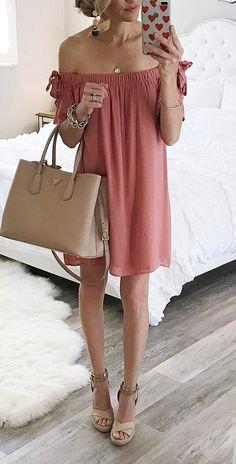 best summer outfit off shoulder dress + bag + heels1