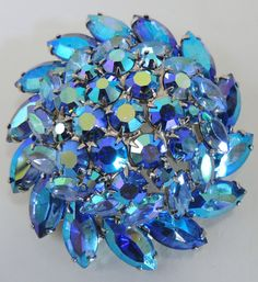Amazing Juliana D & E AB Blue Rhinestone Brooch by DLSpecialties, $62.00