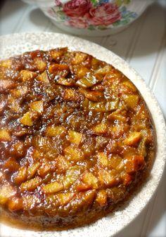 peachrhucake-DSC_0055/ Peach Rhubarb Skillet Upsidedown Cake