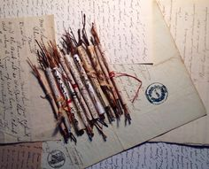 Paper scrolls with plant materials, asemic writing, ink and tea stains and vintage papers from Salon de Refuse studio. Artist Rota McNamara