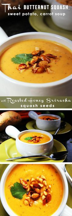 Thai Butternut Squash Sweet Potato Carrot Soup - red curry, ginger, coconut milk, and sriracha Soup Recipes, Vegetarian Recipes, Cooking Recipes, Healthy Recipes, Thai Butternut Squash Soup, Sweet Potato Carrot Soup, Carlsbad Cravings, Soup And Sandwich, Soup And Salad