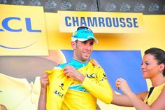 Stage 13: Saint-Étienne - Chamrousse 197.5km - Vincenzo Nibali (Astana) on the podium defending his yellow jersey! Photo credit © Fotoreporter Sirotti