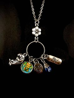 GiftJewelryShop Tribal Mask with Feathers Crescent Moon Galactic Universe Glass Cabochon Pendant Necklace