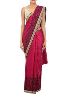 Plum saree embellished in resham embroidery only on Kalki - Kalkifashion.com