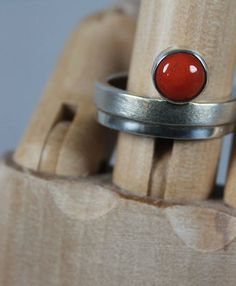 $185 Tomato Red Coral Ring in Sterling Silver, Jewelry by Jonathan  Mike