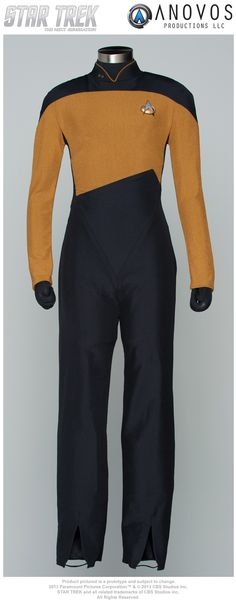 I WANTTTTT!!!!!!!!!!!!!!!!!  Faithful replica of the one-piece Starfleet women's uniform jumpsuit worn in the later seasons of STAR TREK: THE NEXT GENERATION, as well as seen occasionally in DEEP SPACE NINE and VOYAGER. Made of 100% Jumbo Spandex, and dyed to color match production and screen-used samples from CBS Archives. Patterned from screen-used suit, featuring shoulder padding, back zipper, scalloped leg, and elastic boot stirrups. Choose from Command Burgundy, Services Gold/Mustard, and Sciences Teal