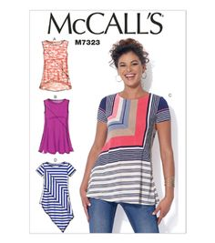 McCall Pattern M7323-0Y0 Misses' Asymmetrical Seam Detail Tops-XSM-SML-MED
