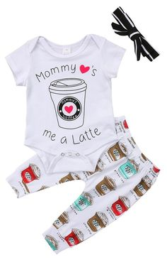 56bd025603f Mommy Love s Me A Latte Baby Girl Outfit Twin Girls Outfits
