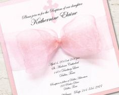 Girl Baptism Invitation Christening Pink Ribbon por LibbyKateSmiles